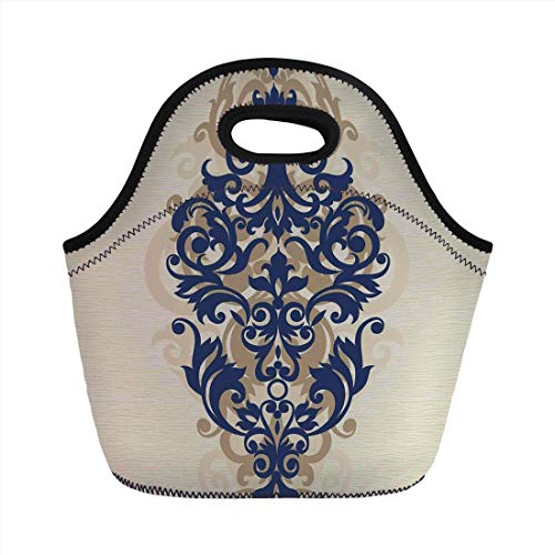 Lunch Bag Portable Bento,Kitchen Decor,Classical Baroque Vintage Design Print Victorian Style Brush Kitchenware Oriental,Navy Golden Cream,for Kids Adult Thermal Insulated Tote Bags