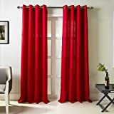 RT Designers Collection Madrid Textured 54 x 84 in. Grommet Single Curtain Panel, Red For Sale