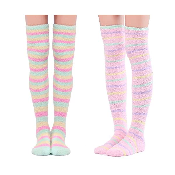 Littleforbig Cute Coral Fleece Thigh High Long Striped Socks 2 Pairs