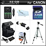 32GB Accessory Kit For CANON POWERSHOT SX160 IS, SX160IS SX20 IS SX20 SX1 IS SX150IS SX150 IS Digital Camera Includes 32GB Secure Digital High Capacity (SDHC) Card Class + Carrying Case + AA Battery Charger Set + LCD Screen Protector + 50 Tripod + More