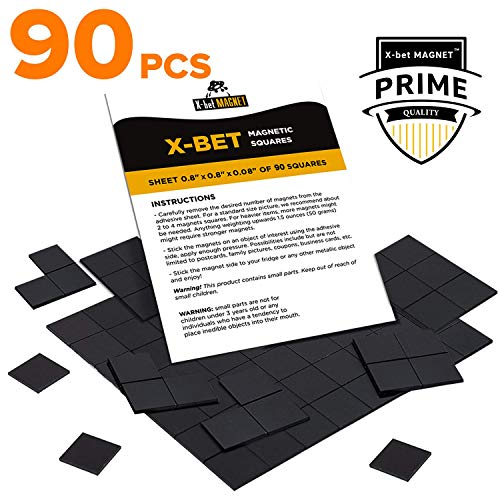 (Magnetic Squares - Flexible Magnetic Sheet of 90 Self Adhesive Magnetic Squares (Each 4/5