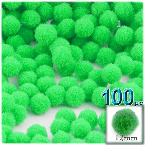 The Crafts Outlet 100-Piece Multi Purpose Pom Poms, Acrylic, 12mm/About 0.5-inch, Round, Lime Green
