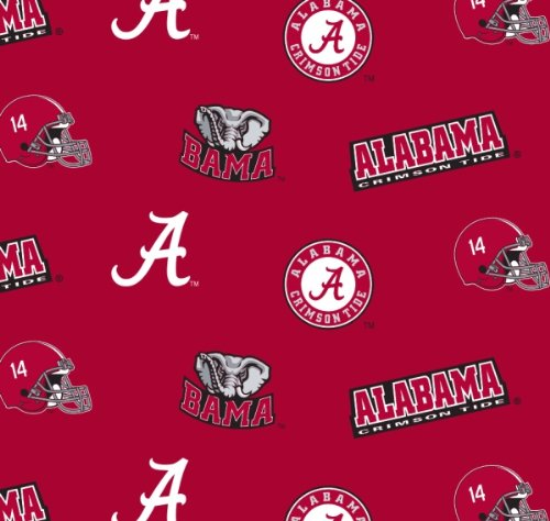 University of Alabama Crimson Tide Cotton Fabric, Crimson & White - Sold By the - Crimson Tide Crystal Alabama