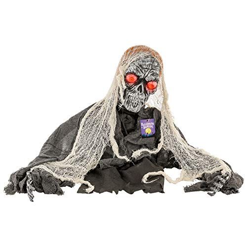 Halloween Haunters Animated Skeleton Groundbreaker Zombie Graveyard Prop Decoration - Scary Spooky Howls, LED Light-up Eyes - Display at Haunted House Tombstone, Party Entryway ()