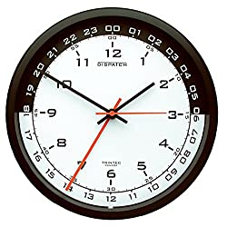 Trintec 12 & 24 Hour Military Time Swl Zulu Time 24hr Wall Clock 10 - White Dial with Black Moon DSP03