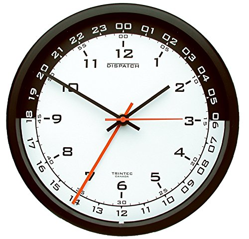 "Trintec 12 & 24 Hour Military Time Swl Zulu Time 24hr Wall Clock 10"" - White Dial with Black Moon DSP03"