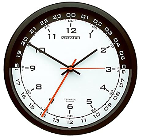 Military Time Clock >> Trintec 12 24 Hour Military Time Swl Zulu Time 24hr Wall Clock 10 White Dial With Black Moon Dsp03