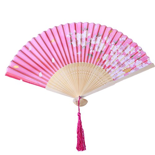 - VORCOOL Chinese Style Bamboo Silk Fan Cherry Folding Fan Dance Hand Fans Elegant Gift for Women Ladies (White Bone and Red Surface)