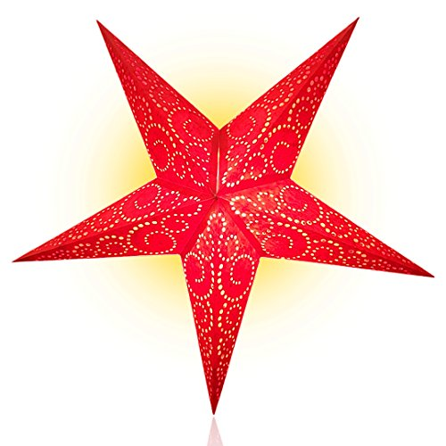 Happy Sales HSSL-UNTRED, Unity Swirl Paper Star Lantern, Red (Sale Red For Lanterns)
