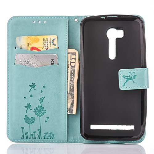 Asus ZenFone Go ZB452KG Case, Asus ZenFone Go ZB452KG TPU Leather Case Cover [Gray], Cozy Hut Elegant Butterfly Rose Patterned Embossing PU Leather Stand Function Protective Cases Covers with Card Slo Light blue Dandelion