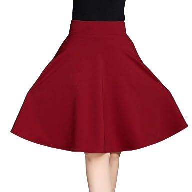 E-Girl - Falda - Trapecio o Corte en A - para Mujer Rojo 38 ...