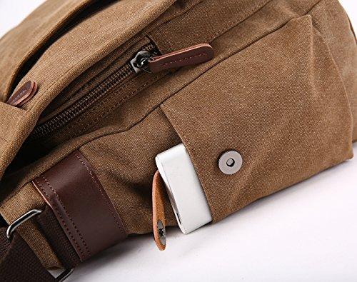 L Men Bag Business Messenger Bag 14 Bag Women Work Laptop Sport Shoulder Bags Bags Niceeday 17 Shoulder Kaffee Travel Inch by Bag Bag Crossbody Canvas Mens qqxwUf4t