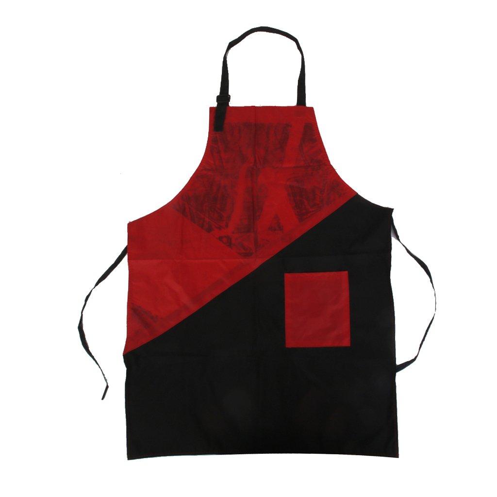 Pro Tablier pour Salon de Coiffure Styliste - Rouge et Noir Générique
