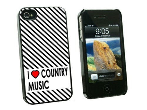 Graphics and More I Love Heart Country Music Snap-On Hard Protective Case for Apple iPhone 4/4S - Non-Retail Packaging - Black