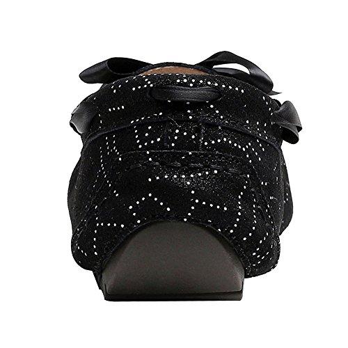 Nero Pelle Formale Bowknot Scarpe Mocassini Scivolare Vestito Scamosciata Su Rismart Donna Piatto Rq0PSP
