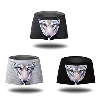Men's Seamless Boxer Brief Stretchable Underwear 3D Printing 3-pcs Set, Sexy Hipster Wolf Animals (L, Dark Gray + Light Gray + Black)