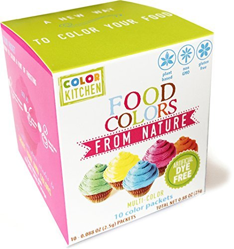 ColorKitchen All Natural Food Coloring Packets (10 Pack) - Blue, Pink, Yellow, Orange, Green