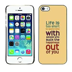 TECHCASE**Cubierta de la caja de protección la piel dura para el ** Apple iPhone 5 / 5S ** Life Inspiring Quote Brown Red Teal