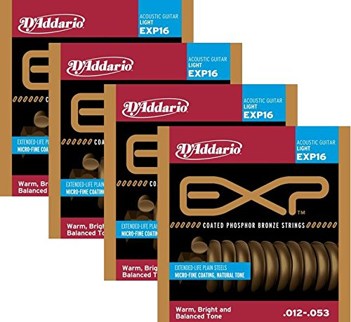 LOT OF 4 - D'Addario EXP16 Coated Phosphor Bronze Acoustic Guitar Strings, Light, EXP16 (Daddario Exp16 Acoustic Guitar Strings)