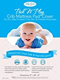Pack n Play Crib Mattress Cover by Julia Grace Home | Mini Crib Mattress Protector | Organic Ultra Soft Fabric is Waterproof, Hypoallergenic, Machine Washable | Fits All Portable and Mini Cribs