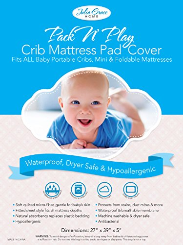 2019 Pack n Play Crib Mattress Cover by Julia Grace Home | Mini Crib Mattress Protector | Organic Ultra Soft Fabric is Waterproof, Hypoallergenic, Machine Washable | Fits All Portable and Mini Cribs