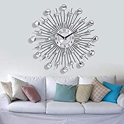 YJSMXYD Wall Clocks Mirror Sun Silver Modern Design Metal DIY Crystal Quartz Art Watch Silent Sports Living Room Bedroom Children's Room Home Decor Office Hotel Creative Gift
