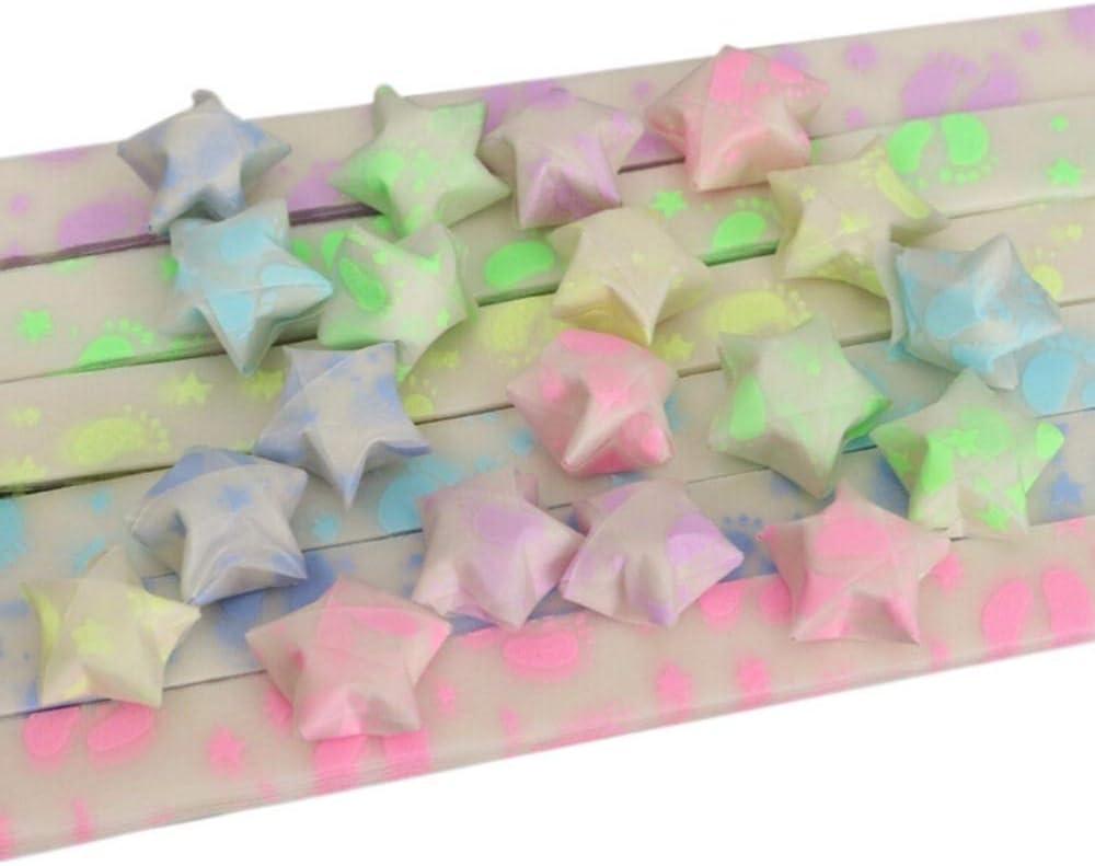 Quilling Paper Origami Papel Fluorescente Estrellas Tiras de Papel DIY Manualidades Lindo Kit Plegable Suerte Origami Papel Decoraci/ón 500pcs 26x1CM