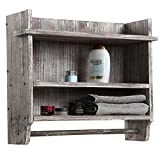 Wall Mounted Torched Wood Bathroom Organizer Rack with 3 Shelves and Hanging Towel Bar