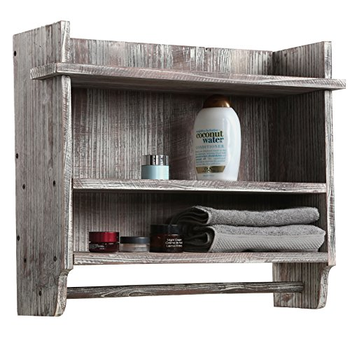 MyGift Wall Mounted Torched Wood Bathroom Organizer Rack with 3 Shelves and Hanging Towel Bar ()