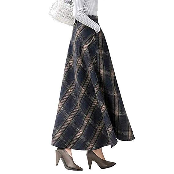 MAOYING Falda Larga De Tela Escocesa De Otoño Invierno De Mujer ...
