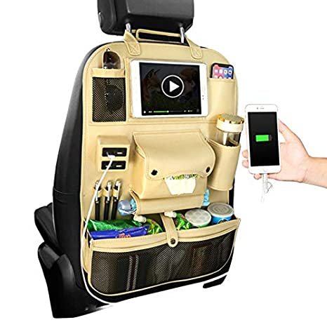 JLMlike Back Seats Organizers with 6 Pockets Storage Bag Holder for iPad Tablet Bottle Toys Vehicles Travel Accessories Auto Seat Back Protector Kick Mats Black 2 Pack