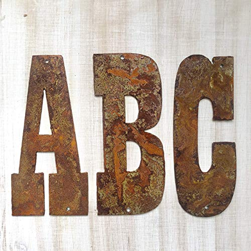 - 4 Inch Farmhouse Letters in Rusty Metal