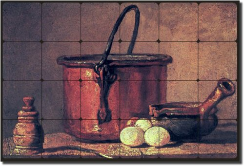 ''Still Life with Copper Cauldron and Eggs'' by Jean Baptiste Simeon Chardin - Artwork On Tile Tumbled Marble Mural 16'' x 24'' Kitchen Backsplash by Artwork On Tile