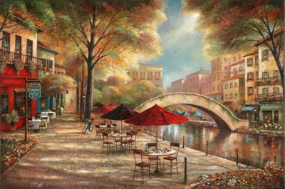 36W x 24H Riverwalk Charm by Ruane Manning - Stretched Canvas w/ BRUSHSTROKES by ArtToCanvas
