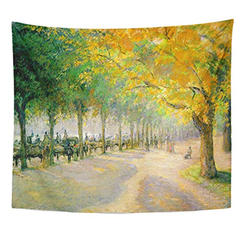 Semtomn Tapestry Artwork Wall Hanging Fine Pissarro Hyde Park Painting Camille Impressionist Landscape Trees 50x60 Inches Home Decor Tapestries Mattress Tablecloth Curtain Print -