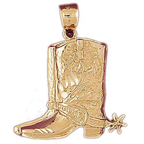14K Yellow Gold Cowboy Boots Pendant Necklace - 33 mm by NecklaceObsession