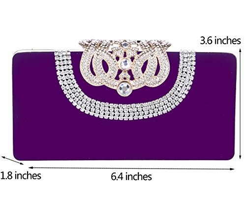 Bal Sac Mariage Sac Maquillage Purple Main Clutch Bandouliere Pochette Fête Femme pour Bourse Chaîne Soirée à zIqx60rzwp