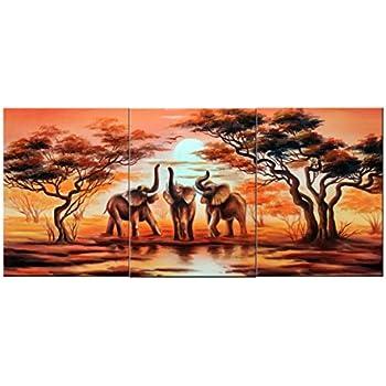 amoy art 3 piece wall art african elephants canvas prints on canvas wall art landscape