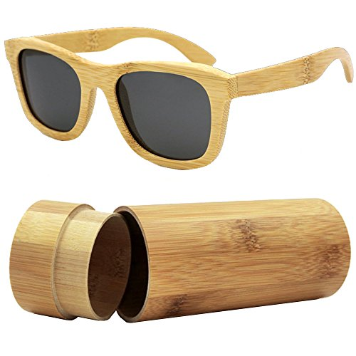 iSunHot 1-Pack Bamboo Wood sunglasses with Polarized UV Protection Lens in Vintage Wayfarer Style - Authentic Natural Frame for Men / Women Handmade Eyeglasses at the - Bans Effect Ray Wood