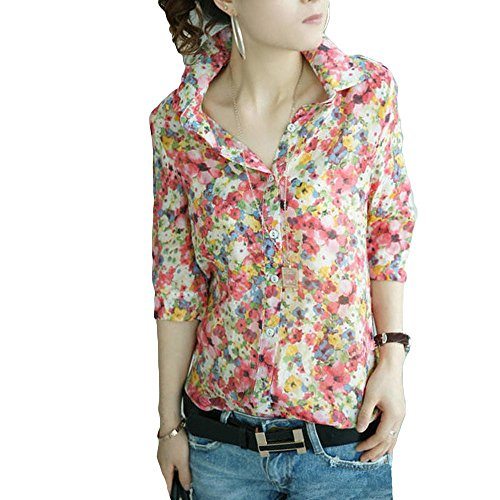 すなわち器用製造(深セン アイビー詩) SZIVYSHI 女性シャツ花柄フラワー プリントのターン ダウン襟ボタン シフォン ブラウス