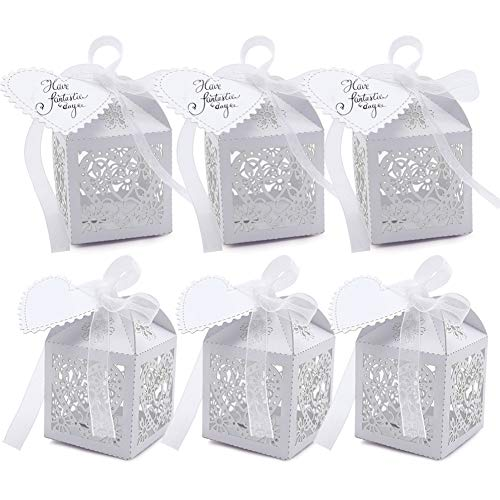 VGOODALL 100 Pcs Party Favor Box,Pearl White Paper Laser Cut Heart Gift Candy Box,Wedding Decoration with 100 Ribbon and 100 Blank Love Heart ()