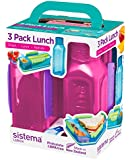 Sistema Collection lunch box 3 Pack, Blue/Green/Pink