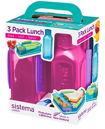 Sistema 1595 Lunch Collection Box 3 Pack, Blue/Green/Pink