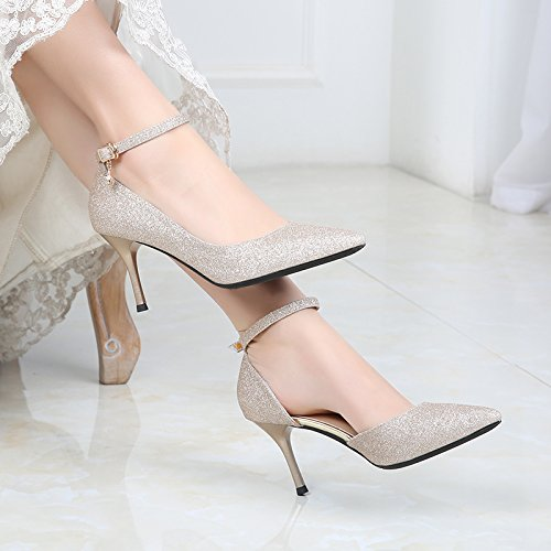 Word Heels Shoes Bridesmaid Buckle Sharp Shoes Elegant Champagne Work Leisure MDRW Banquet 38 Single Lady Head Fine Spring Heel 8Cm Shoes 70wOF4q