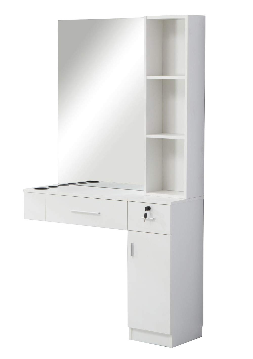 BarberPub Wall Mount Hair Styling with Mirror Barber Station Dressing Table Beauty Salon Spa Equipment Set 3026/3036 (right shelf, White)