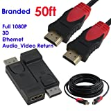 Ray-Up -(50 Feet)DisplayPort® to HDMI® Video Adapter Converter - M/F + Ultra Black/Red High-Speed HDMI Cable - Supports Ethernet, 3D, and Audio Return [Newest Standard]