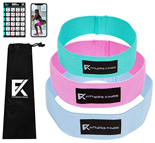 Fitness Kings Hip Bands- 3PC Set Cloth Resistance Loop Bands for Legs & Booty Building/Glute Activation Exercise Hip Band, Thigh Squat Band Waist Belt + Fitness Program (Mint, Blue, Pink)