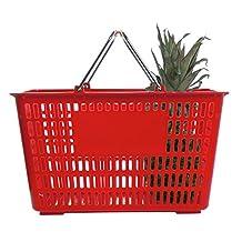 "HUBERT® 30 Liter Red Plastic Shopping Basket - 18 3/4""L x 13 3/8""W x 10 3/8""H"