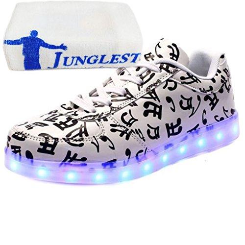 (Present:kleines Handtuch)JUNGLEST 7 Farbe LED Leuchtend Sport Schuhe USB Aufladen Turnschuhe für Unisex Herren Da Hinweis