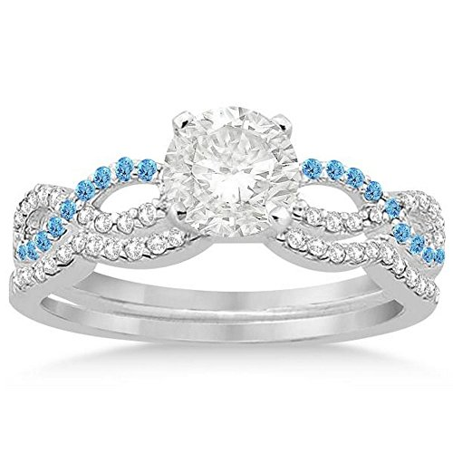 Infinity Twist Diamond and Blue Topaz Engagement Ring and Diamond Contour Wedding Band Platinum (0.34ct) -